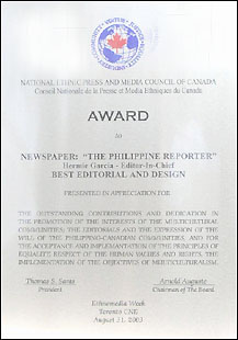 The philippine reporter national ethnic press of canada award award to newspaper the philippine reporter hermie garcia editor in chief best editorial and design presented in appreciation for the outstanding yadclub Gallery